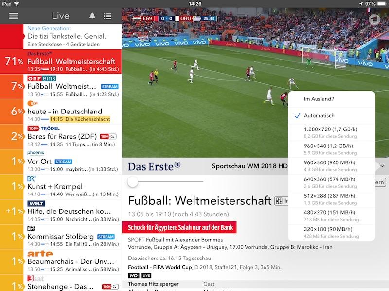 Screenshot Live Tv App Qualität einstellen