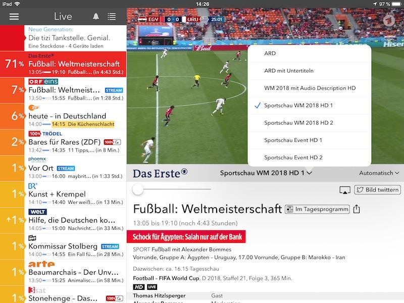 Screenshot Live TV App verschiedene Fußball WM Streams