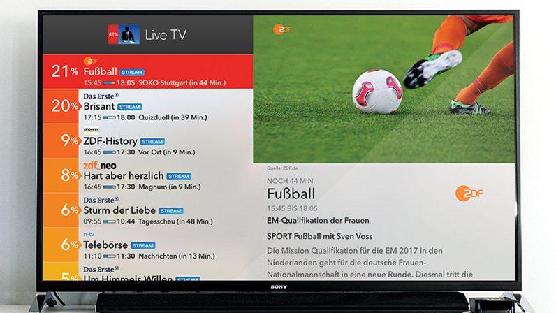 Live TV auf Fernseher Fußball