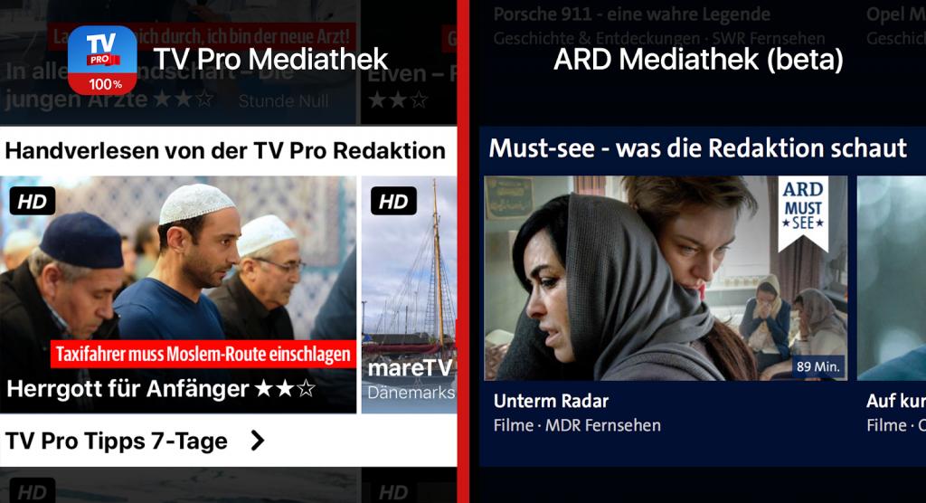 TV Pro Mediathek gegen ARD Mediathek Tipps