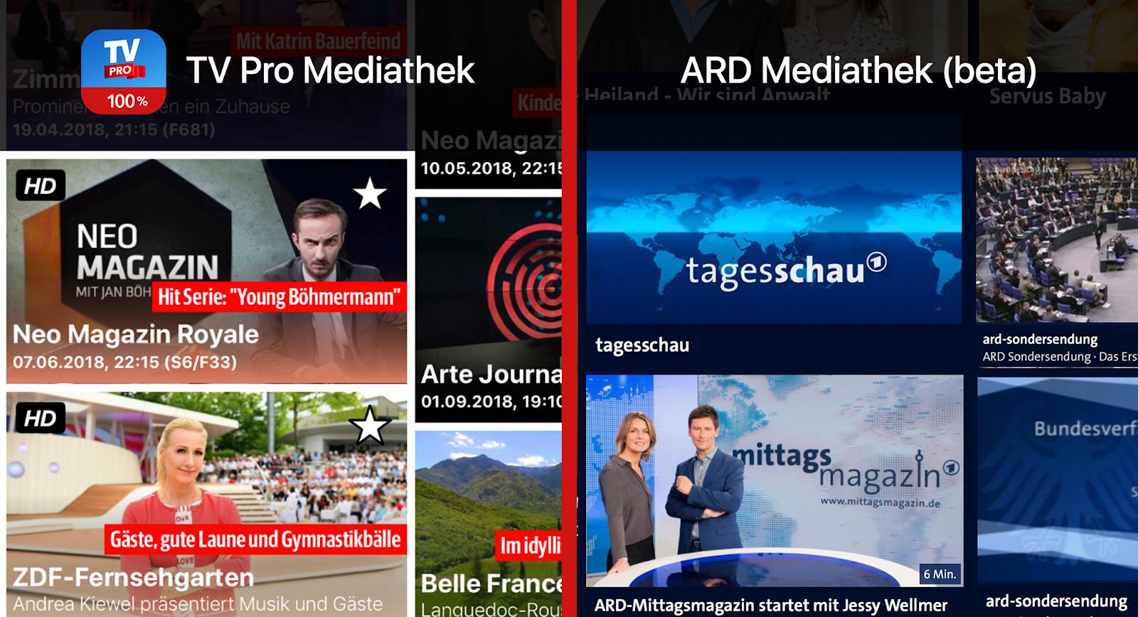 TV Pro Mediathek gegen ARD Mediathek Sender