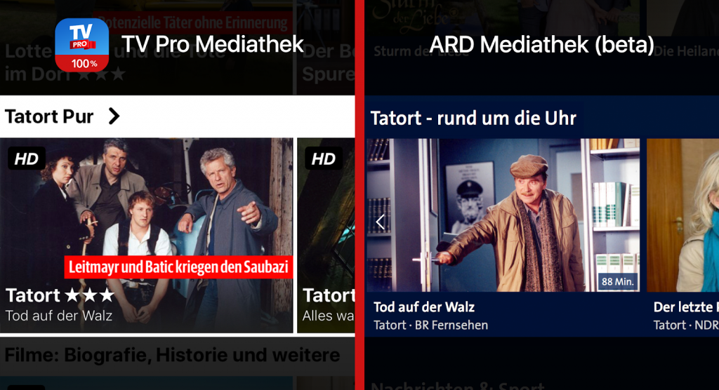 TV Pro Mediathek gegen ARD Mediathek Tatort