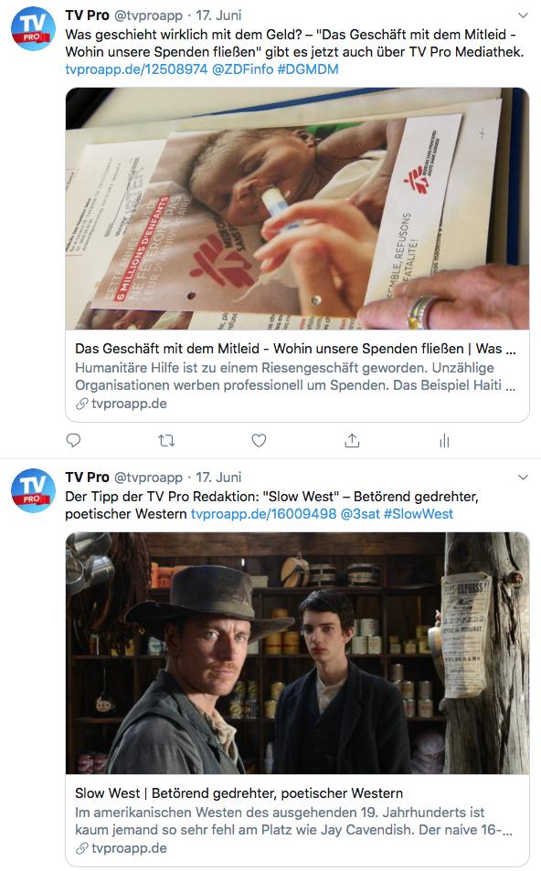 TV Pro Twitter Mediathek Tipps